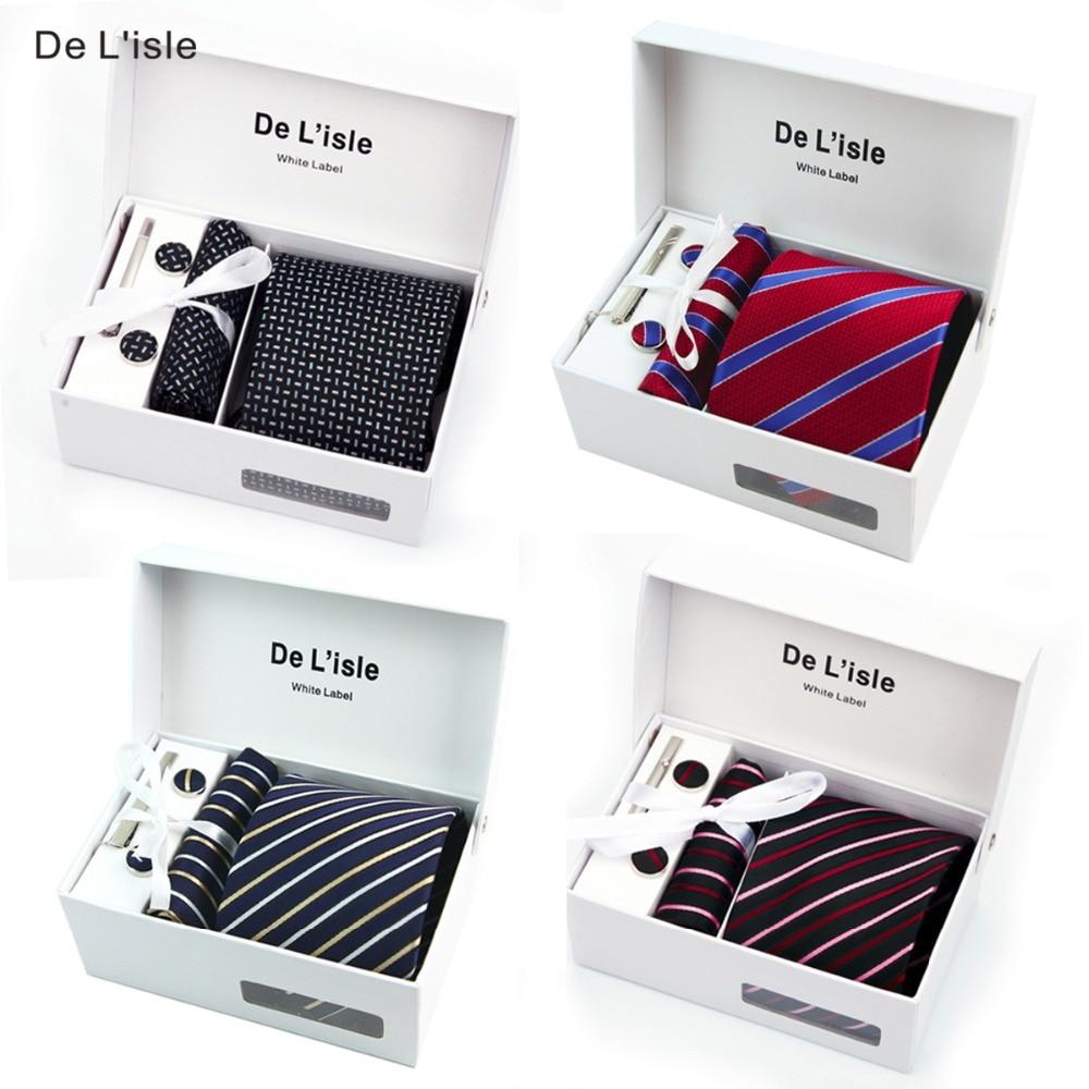 Special Offer Premium Woven Jacquard Necktie Cufflinks Hanky Tie Clip Gift Set Men Present with Giftbox