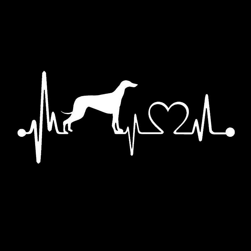 17.8*7.6CM Greyhound Heartbeat Dog Car Stickers Creative Vinyl Decal Car Styling Bumper Accessories Black/Silver S1-0706