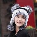 Осень и зимняя шапка женщины пряжи вязаный рекс кролика волосы меховая шапка лиса мяч женские ухо защитным колпаком
