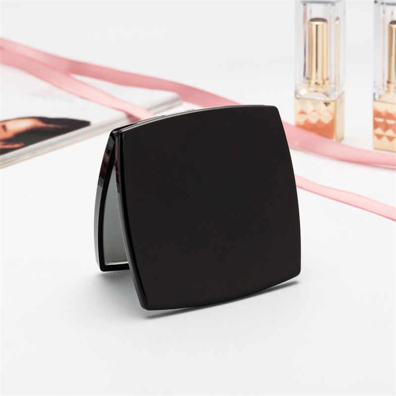 Mini espelho quadrado forma menina mini lados duplos espelho portátil bolso maquiagem cosméticos espelhos compactos