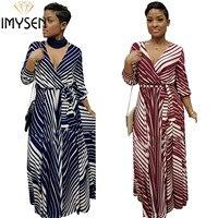 S XXL XXXL IMYSEN Sexy Print Dress Women V Neck Three Quarter Sleeve Oversized Dresses Autumn