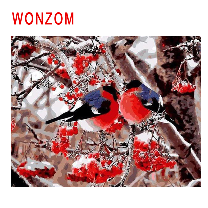 WONZOM Snow Tree Bird Painting By Numbers Abstract Animal Oil Cuadros Decoracion Acrylic Paint On Canvas Modern Art