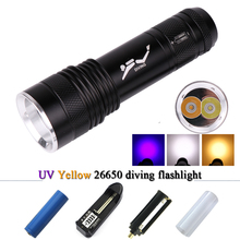 uv lamp scuba diving flashlight 26650 CREE XML-T6 lanterna underwater worklight lampe torche waterproof torch flashlight 18650 2000lm underwater torch light cree xml l2 t6 led scuba diving flashlight lamp using 18650 battery