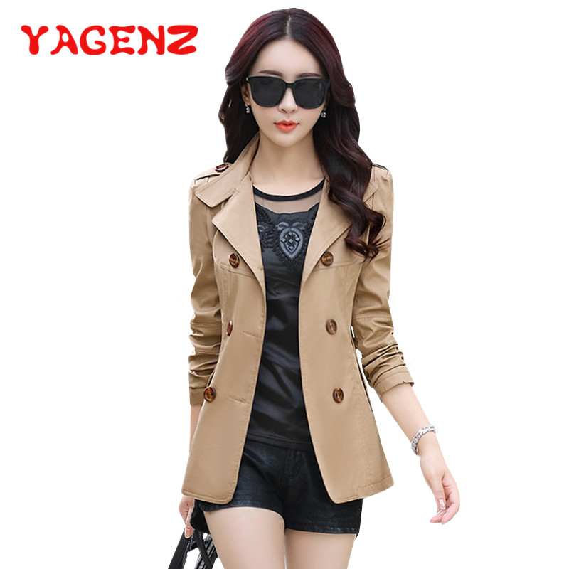 YAGENZ Short Coat Women Tops Chaqueta Mujer Spring And Autumn Coats And Jackets women Fashion Double-breasted Casual Jacket 287