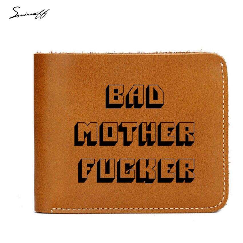 цена Smirnoff New Pulp Fiction Jules Short Purse Engraved Bad Mother Letters Boys Wallet Card Holder Vintage Leather Wallet Men