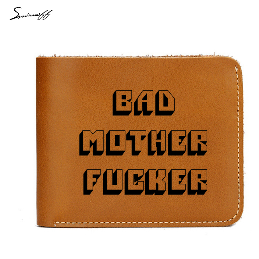 Smirnoff New Pulp Fiction Jules Short Purse Engraved Bad Mother Letters Boys Wallet Card Holder Vintage Leather Wallet Men