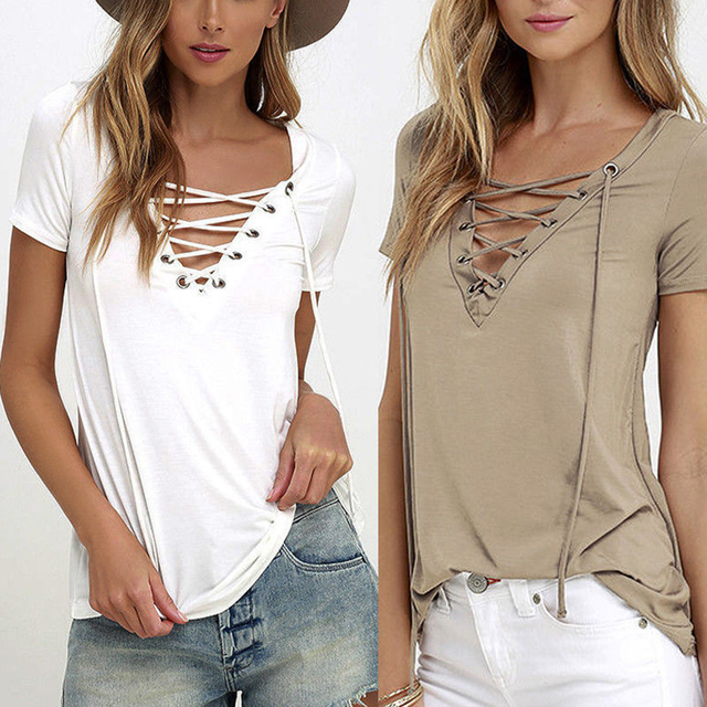 80b4798f597 Fashion Women Ladies Sexy V-Neck Lace Up T-Shirt Summer Casual Short Sleeve  Tops T-shirt