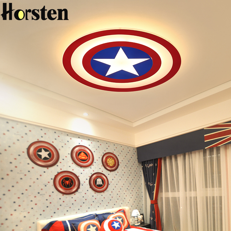Creative Kids Room Lighting Acrylic Captain America LED Ceiling Lights For Baby Room Child Bedroom Dia62cm 45W Ceiling Lamps