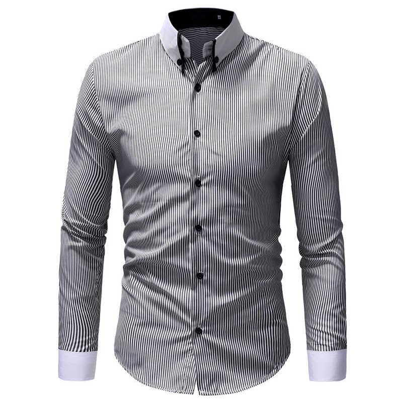 VISADA JAUNA ヨーロッパやアメリカの男性のスリムストライプ印刷大サイズカジュアル長袖シャツサイズ M-3XL TLH61