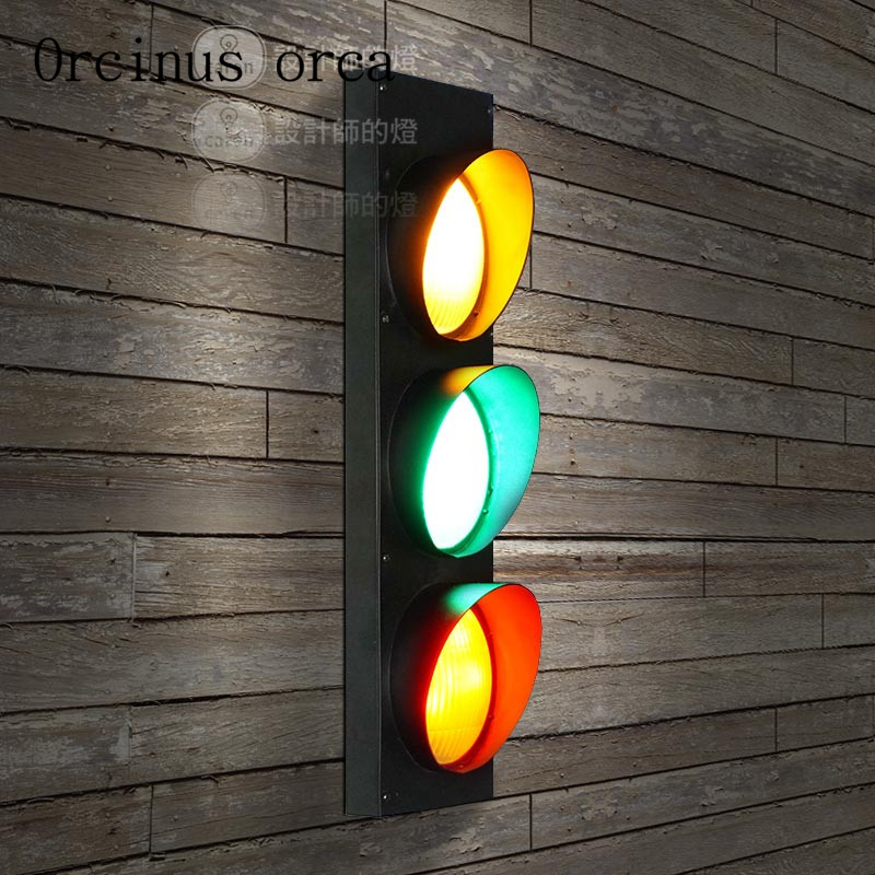 American industrial wind traffic lights wall lamps restaurants cafes bars childrens room lights creative outdoor traffic wall l