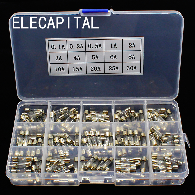 15Kinds 150pcs 5*20 Fast-blow Glass Tube Fuses Car Glass Tube Fuses Assorted Kit 5X20 With Box Fusiveis 0.1A-30A Household Fuses