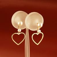 New AU750 Rose Gold Heart Pearl Dangle Earrings Lady's Dangle Earrings