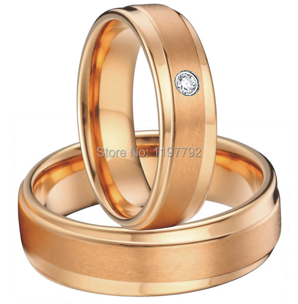 Hecho a medida hecho color de rosa de oro de la salud titanium joyería de compromiso anillos de boda bandas conjuntos para los hombres y las mujeres - 2