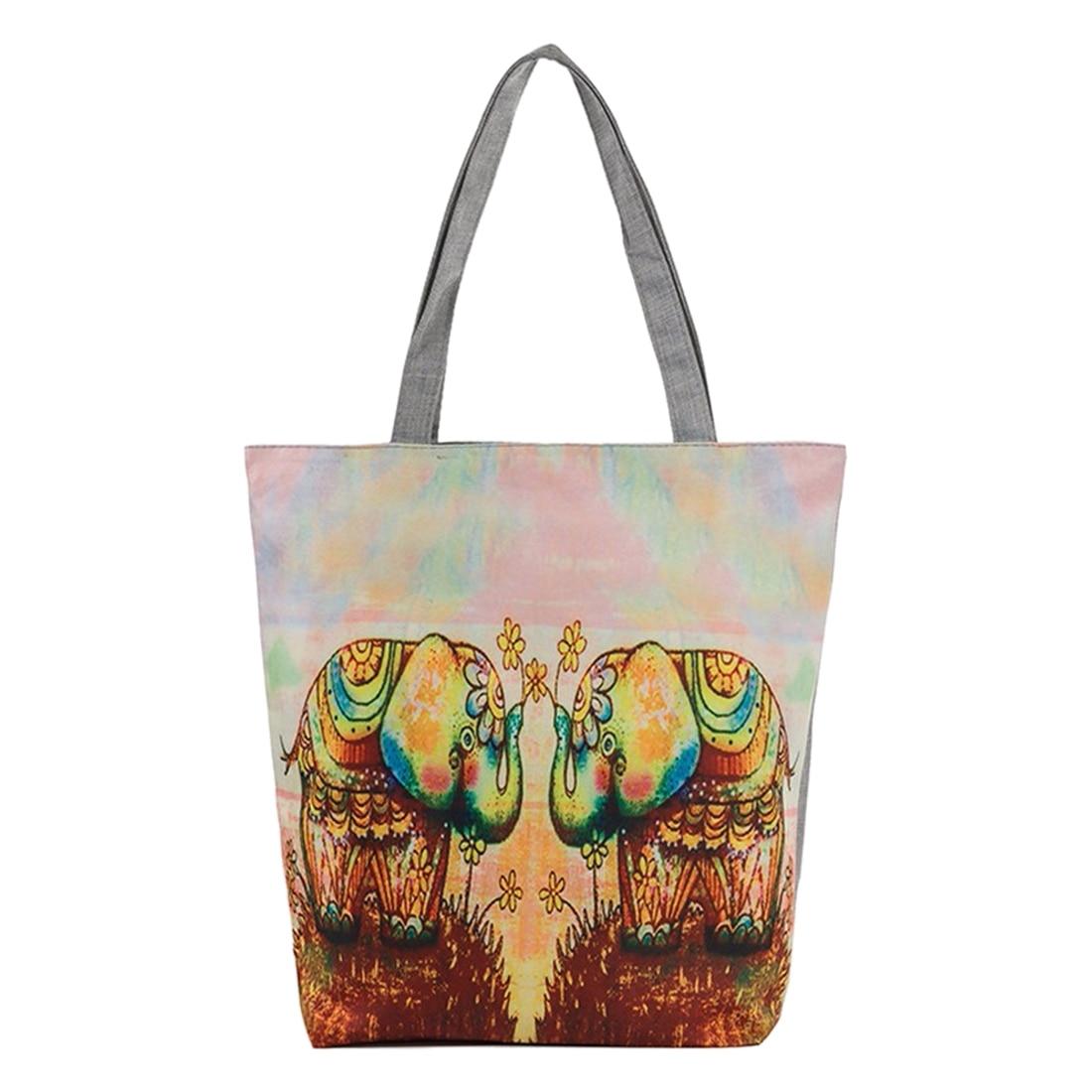 Women National wind printing Shoulder Handbag   elephants  bags