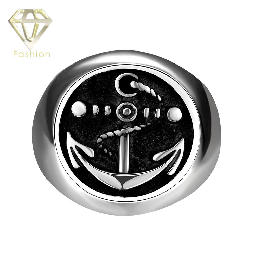 Anchor Ring New Fashion Men Stainless Steel Jewelry Black Round Titanium Steel Punk Rock Plated Silver Biker Rings Wholesale