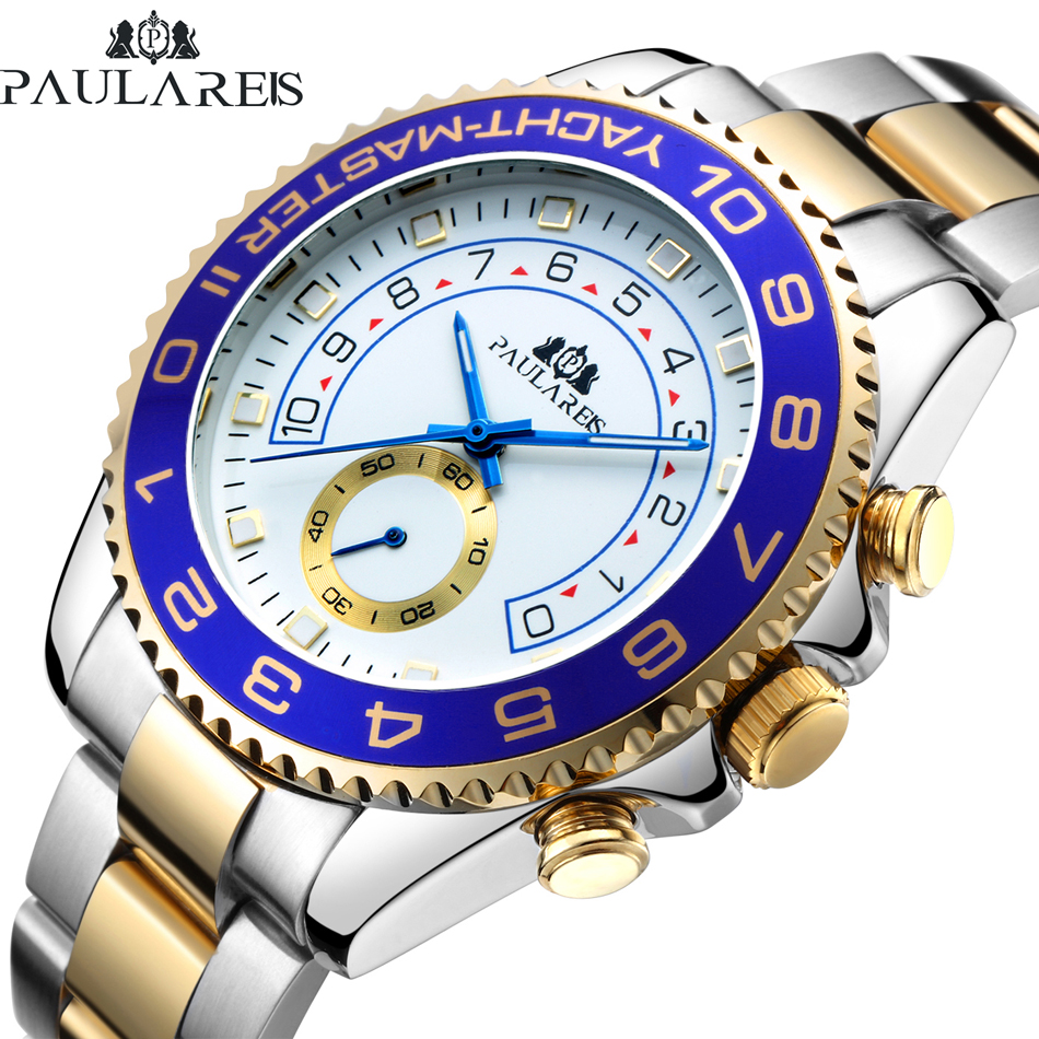 Men Automatic Self Wind Mechanical Stainless Steel Strap Casual Yellow Gold Silver Blue Bezel Master Business Watch|watch business|watch watch|watches watch watch - title=