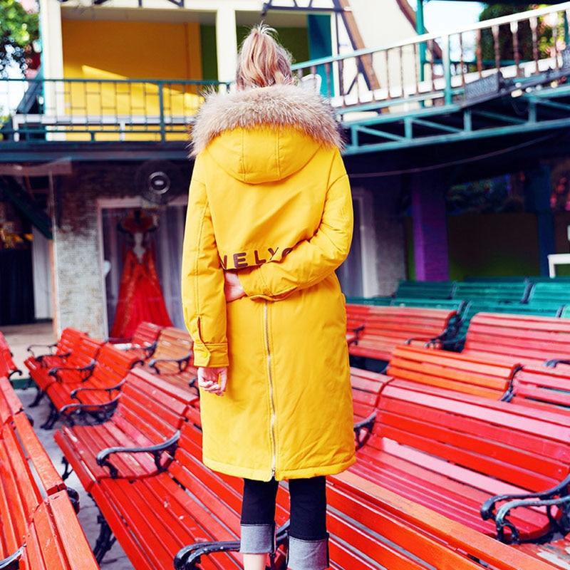 D'amusement Yellow Capuche Hiver Mode Longue Femmes Parka Le 2019 Veste Naturel Copie Des Laveur Manteau Nouvelle Fourrure À Vers Col Arrivée Bas Raton De qg1FqA6