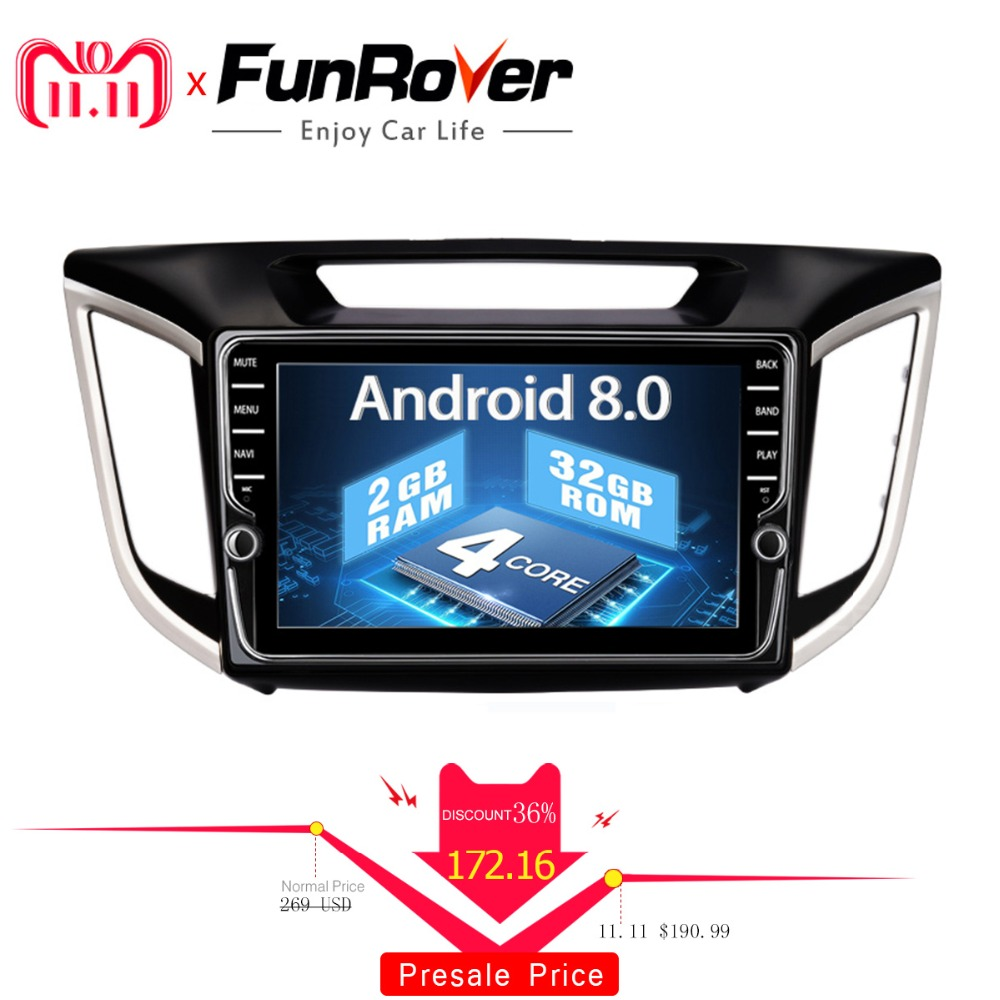Funrover android 8.0 2 din car dvd gps player For Hyundai IX25 Creta Car gps navigation raido Multimedia Player tape recorder 2G все цены