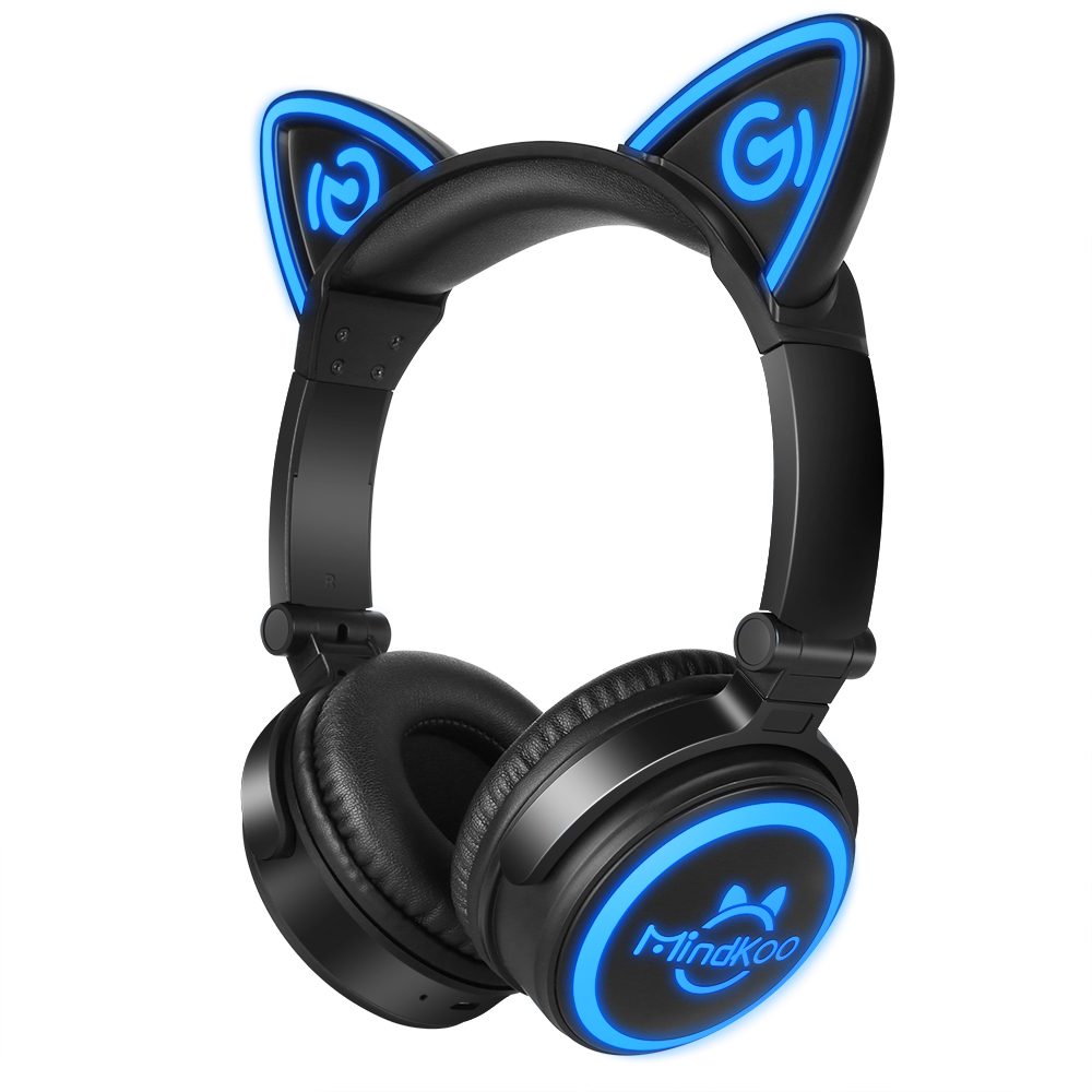 Mindkoo Cat Ear bluetooth Headphones LED flash Wireless Games Headset Earphone For PC Laptop Computer IOS Android Mobile Phone remax 2 in1 mini bluetooth 4 0 headphones usb car charger dock wireless car headset bluetooth earphone for iphone 7 6s android
