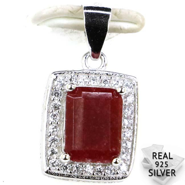 Guaranteed Real 925 Solid Sterling Silver 1.9g Ravishing Real Blood Ruby, CZ Woman's Pendant 18x10mm