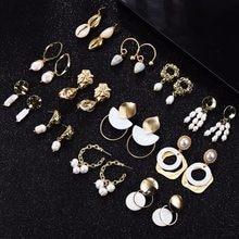 45fb90307bd4 Dvacaman barroco pendientes de perlas de agua dulce para las mujeres de  concha de mar Natural pendientes nuevo Oro Grande Color .