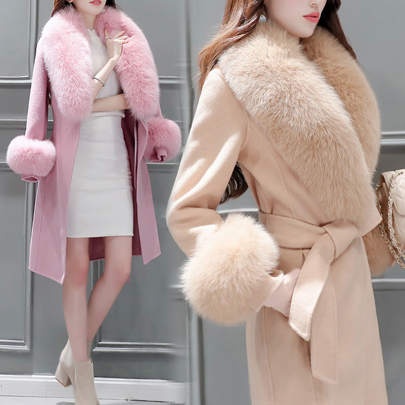 2019 New Elegant Slim Long Trench Coat  Autumn Winter Wool Blend Coat Female Long Sleeve Woolen Jacket Fur Outerwear  Coat Women