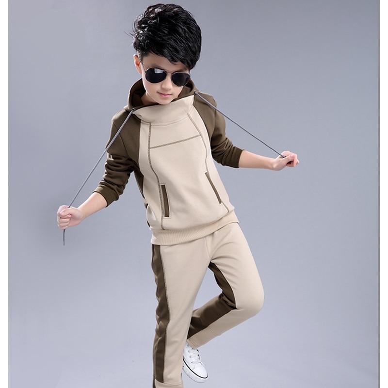 Boy Hooded Tracksuit Clothes set Kids Spring&Autumn Cotton School  Uniform Sport Suit Boys Clothing Sets 4 6 8 10 12 14 year