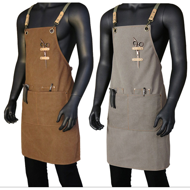Canvas Apron Outsides BBQ Senior Bib Kitchen Cleaning Apron for Women Men Coffee Cooking Restaurant Waitress Custom Print Logo