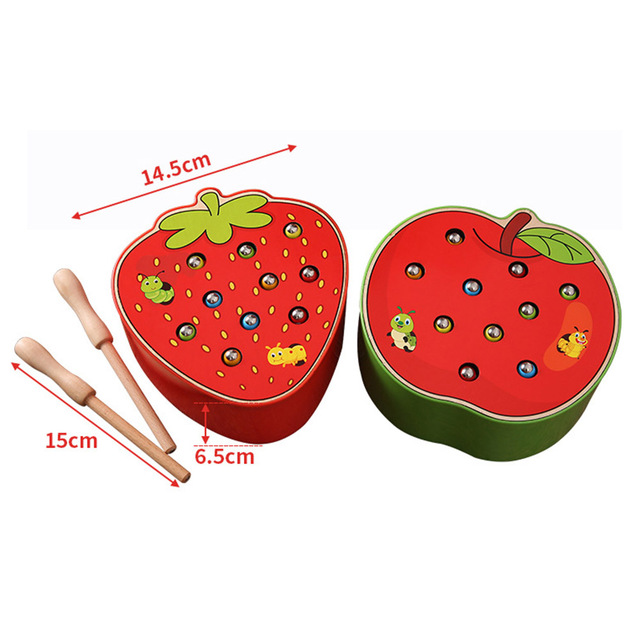 3D Puzzle Baby Wooden Toys Early Childhood Educational Toys Catch Worm Game Color Cognitive Strawberry Grasping Ability funny 1