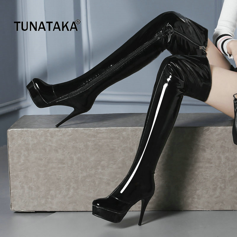 Woman Patent Leather Platform Thin High Heel Over The Knee Boots Sexy Round Toe Side Zipper Dress Winter Thigh Boots Black Red women faux suede side zipper sexy thin high heel thigh boots fashion pointed toe winter shoes black g