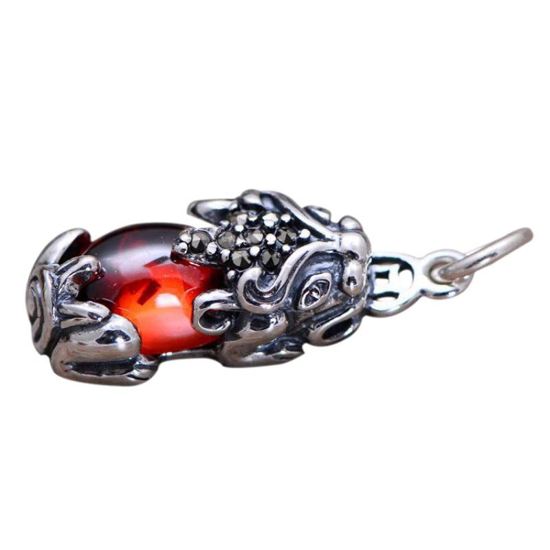 925 Sterling Silver Jewelry Pi Xiu Brave Troops Pendant For Women Inlaid Red Garnet Stone With Lucky Coin Hollow Design спортивный костюм xiu xiu meng gu 2015