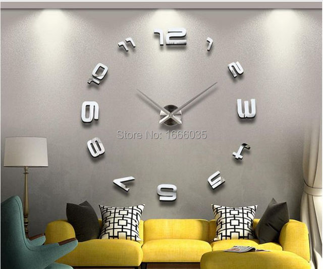 Luxury diy 3d wall clock modern design large size mirror surface home decoration art clocks wall
