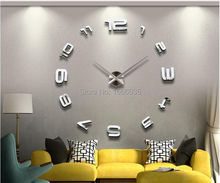 Luxury DIY 3D Wall Clock Modern Design Large Size Mirror Surface Home Decoration Art Clocks Wall Watch Free Shipping