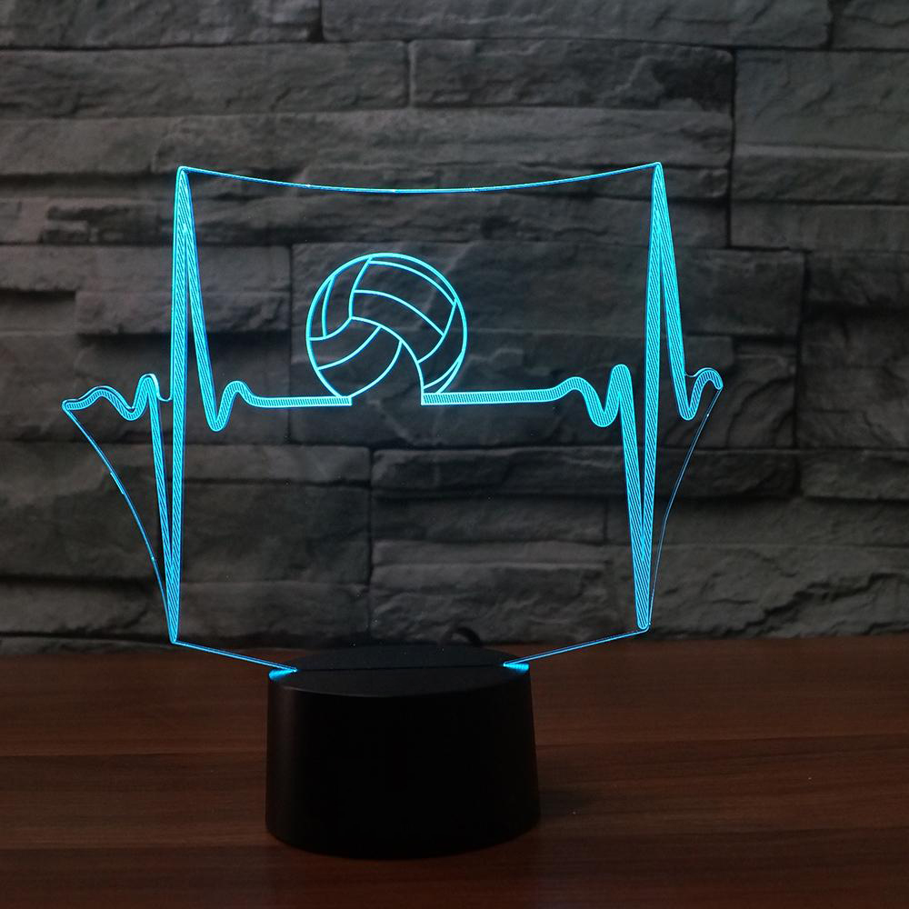 Creative Volleyball Model 3D Night Light 7 Color Changing Remote Touch Switch USB LED Table Lamp Kids Toy Gifts