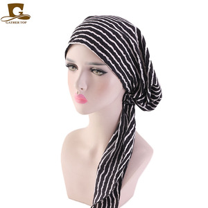 Image 3 - Müslüman Ön Tied Eşarp Kemo Kasketleri Bonnet Kapaklar Kadın Baskı Çiçek Yumuşak Türban Şapka Başörtüsü Wrap Kanser saç aksesuarları