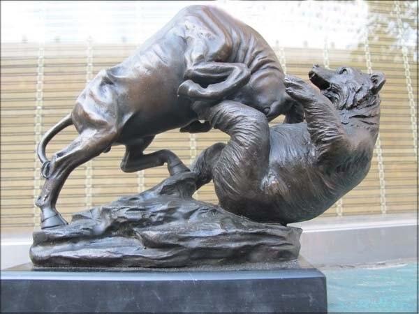 10 Art Bronze Matrble Ox Win Bear Statue The Stock Market Symbol Of