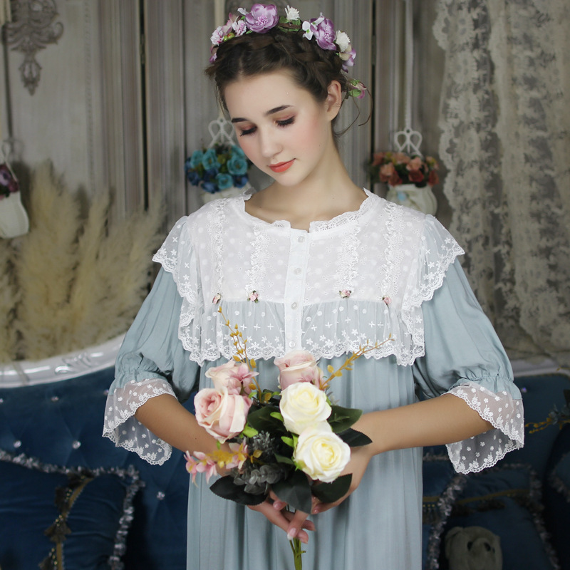 Summer Cotton Vintage Women's Long Nightgowns Short Sleeve Elegant Princess Sleep Dress Female Sleepwear Large Size Nightwear