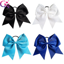 "20 Pcs/lot 7.5"" High Quality Handmade Large Solid Ribbon Rhinestone Cheer Bow With Elastic Hair Band For Girls Kids Headwear"