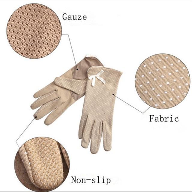 KLV 1 Pair Elegant Women's Driving Slip-resistant Sunscreen Cotton Gloves Fashion Dot Lace Female Sun Protection Non-slip Glove 5