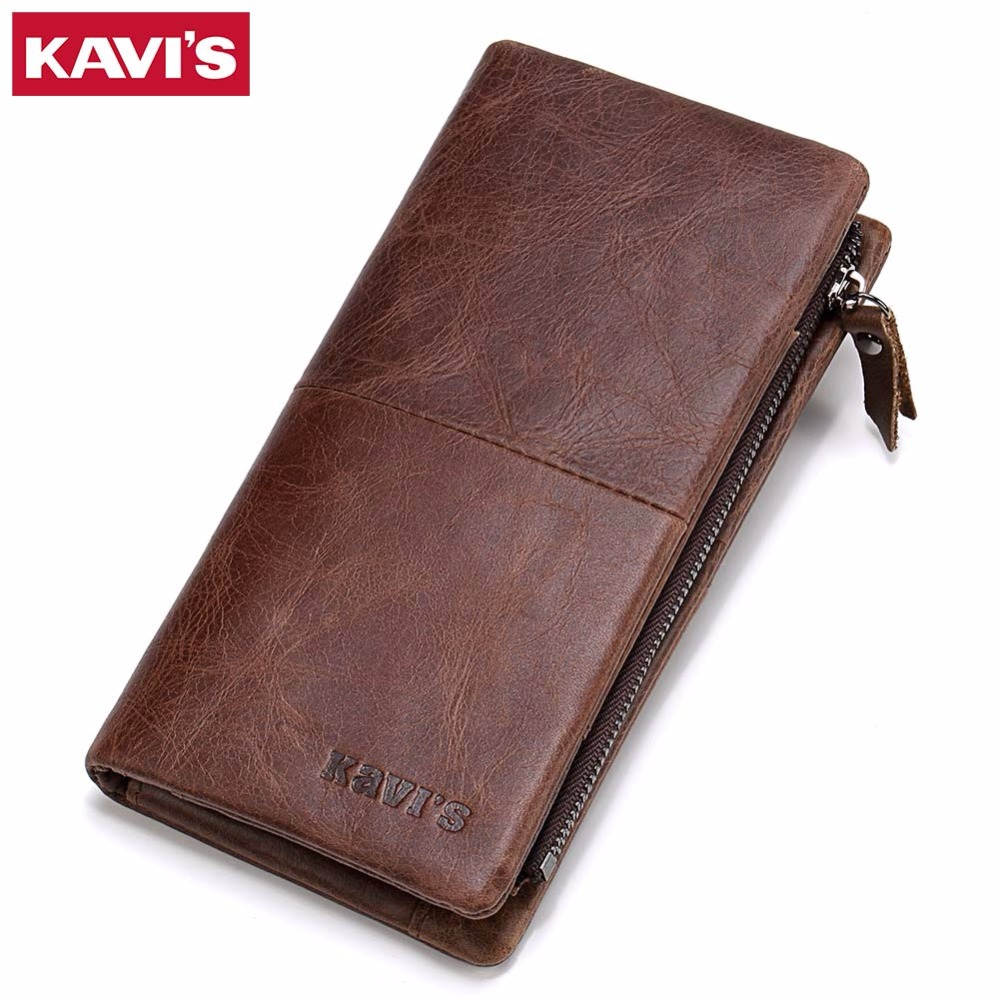 KAVIS Luxury Brand Of Genuine Leather Wallet For Men Oil Wax High-Capacity Multi-Card Bit Long Coin Purse Male Clutch Walet and