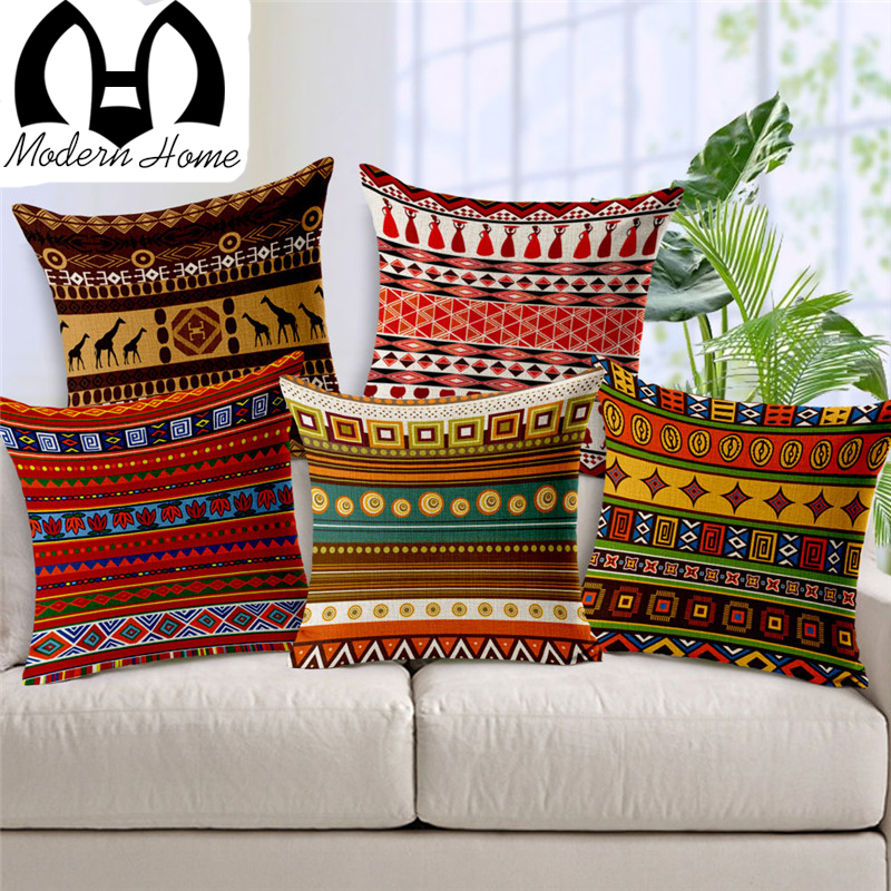 MHome    Vintage cotton linen Africa geometry stripe wave cushion cover bohemian decorative throw pillows sofa pillowcases