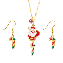 Trendy Tree Candy Bell Pendant Christmas Necklace For Women Statement Santa Claus Deer Long Drop Earring Christmas Jewelry Set fashion christmas gold christmas tree jewelry set necklace bracelet earring ring jewelry sets gift for christmas day dropshiping
