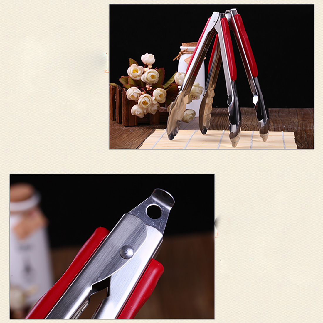 Useful High Quality 9-Inch Stainless Steel and Red ABS Locking Tongs for BBQ ice cupcakes and food