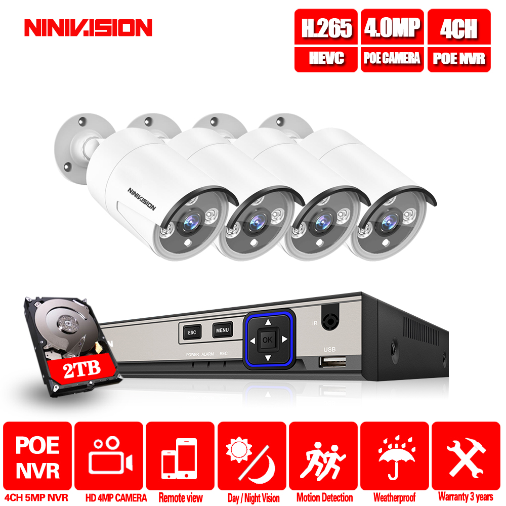 4CH 5MP POE CCTV System NVR Kit IR Night Vision 4.0MP Indoor Outdoor Security IP Camera P2P Video Surveillance Set Mobile view image