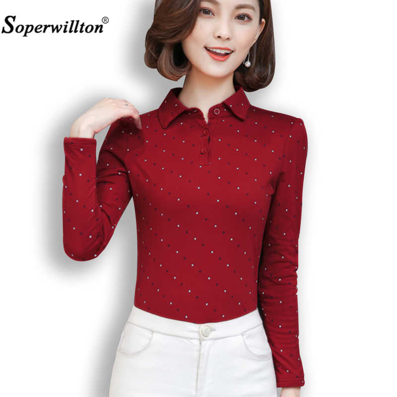 2019 New Spring Autumn Fashion Polo Shirt Women Long Sleeve Slim Polos Mujer Comfortable Top Women's Shirt Lady Polo Shirt Femme