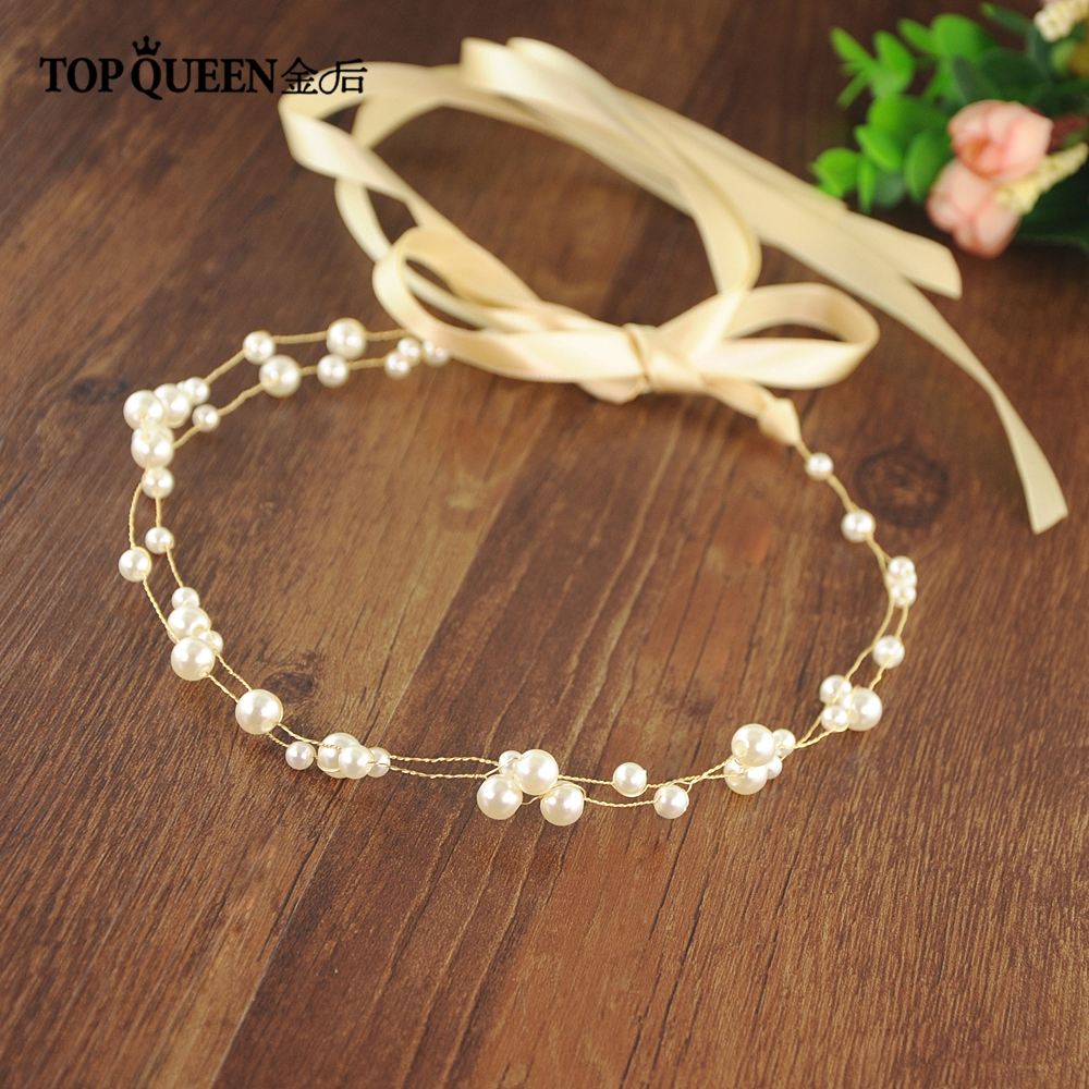 TOPQUEEN HP36 Origina Handmade Hair Jewelry Bridal Hair Accessories Pearls Beaded For Wedding Party Crowns Headbands Wholesale