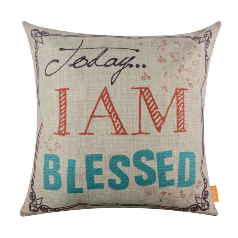 LINKWELL 18x18 Retro Religious Words Today I am Blessed Burlap Cushion Cover Throw Pillowcase Shabby Chic