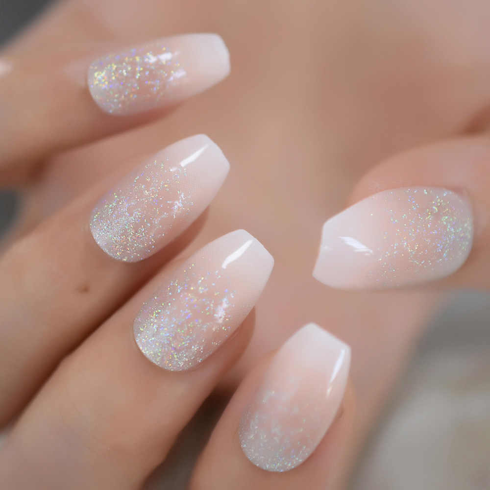 Holographic Silver Glitter Acrylic Nails Ombre French Fake Nails Coffin  Shape Nude Nail Art Tips Pre,designed