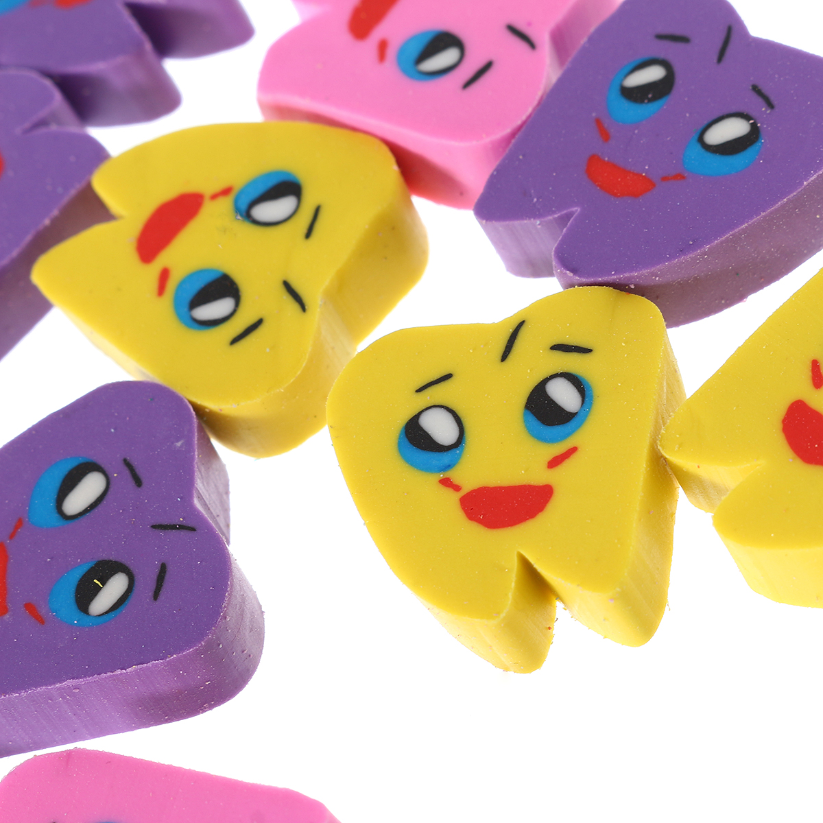 50pcs/bag Molar Tooth Shaped Rubber Erasers Lovely Oral Dentist Dental Clinic School Gift Cute Supplies 2.1*2.1cm Random Color