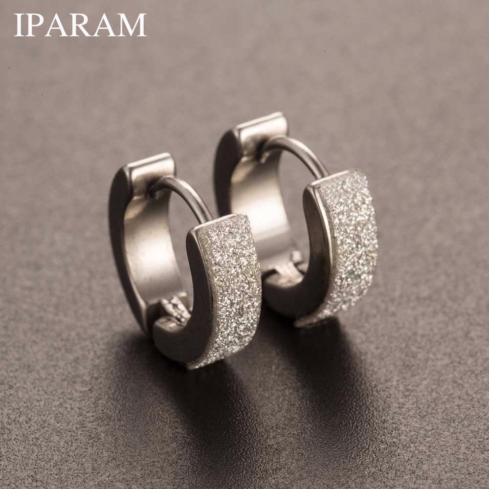 IPARAM Chic 1Pair Cool Punk Men's Stainless Steel Hoop Piercing Round crystal Earring Ear Stud men woman jewelry